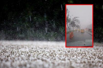 Imágenes que ilustra las lluvias que cayeron este viernes en Bogotá.