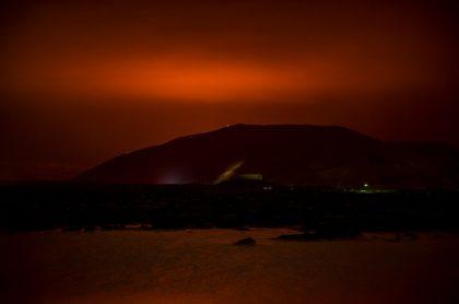 Erupción de un volcán en Islandia.