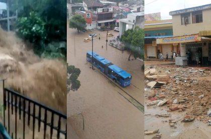 Inundaciones en Cali hoy lunes 22 de marzo. Video de la comuna 20 y más zonas de la capital del Valle del Cauca.