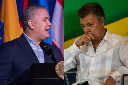 El presidente Iván Duque y el expresidente Juan Manuel Santos.
