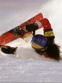 Julie Pomagalski se estrelló en el eslalon paralelo de snowboard femenino en Bad Gastein, en 2006.