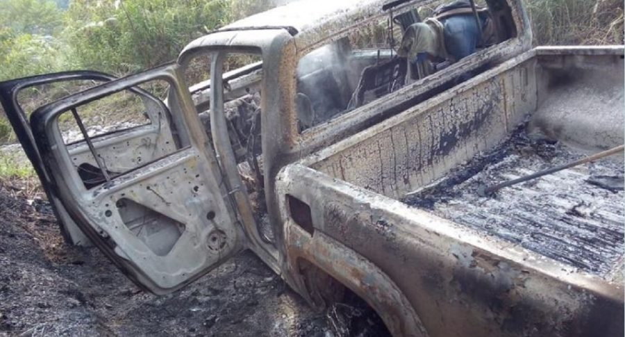 Camioneta del empresario Jimmy Mejía incinerada luego de que fuera secuestrado en el Valle del Cauca