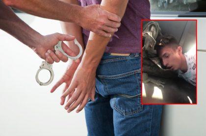 Hombre es esposado y captura de pantalla de joven ladrón que fue capturado por la comunidad y su familia salió a defenderlo