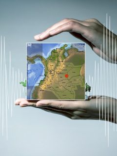 Imagen ilustrativa de sismógrafo y mapa de epicentro de temblor de hoy para nota sobre sismos que ha habido en Puerto Gaitán, Meta, en marzo.