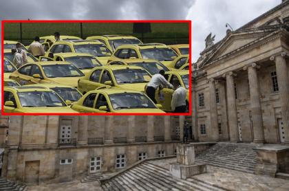 Imágenes que ilustran la toma del congreso que promueven algunos taxistas.