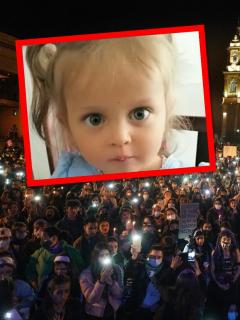 Sara Sofía Galván y protesta en Bogotá ilustran nota sobre convocatoria de marcha por el caso de la niña