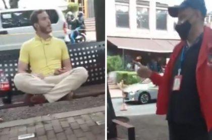 Hombre que insultó a empleado de la Alcaldía de Bogotá en el Parque de la 93