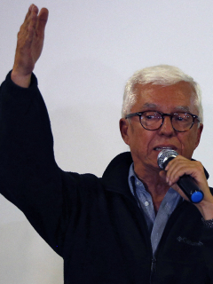 Foto tomada en Bogotá el 26 de agosto de 2018 a Jorge Enrique Robledo, quien fue elegido candidato presidencial 2022 del Partido Dignidad.