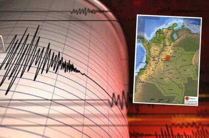 Montaje con imagen de referencia de registro de un sismógrafo e imagen de un mapa de Colombia con marca roja en el municipio de Páez, Boyacá, epicentro de temblor de magnitud 4 reportado este Domingo de Ramos.