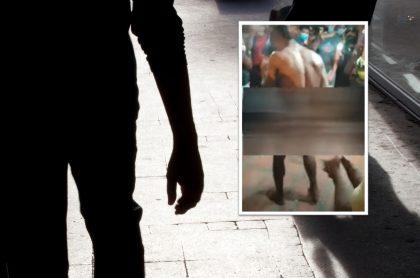 Desnudaron a supuesto ladrón en Soledad, Atlántico, y lo pusieron a bailar.