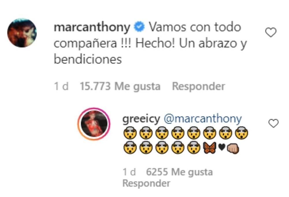Comentario de Marc Anthony en video de Greeicy / Instagram @greeicy