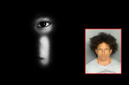 Ojo de niño a través de cerradura de puerta y foto de sospechoso de secuestrar, violar y disparar a un niño en Miami