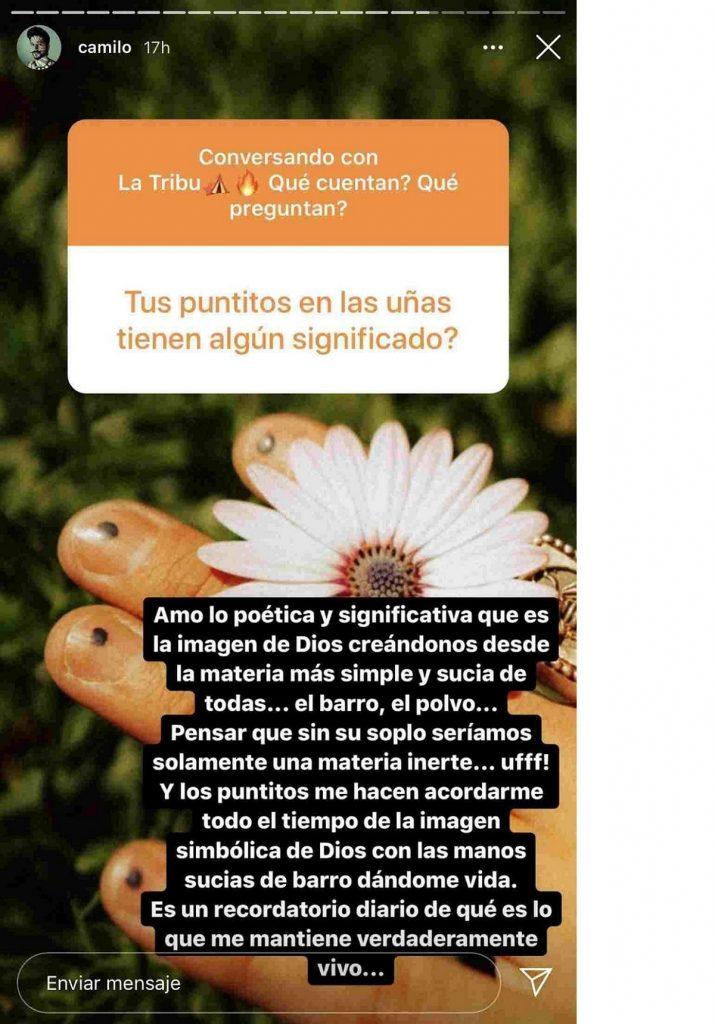 Captura de pantalla historia de Instagram Camilo.