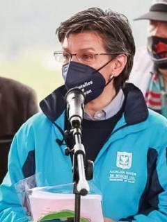 CLaudia López, alcaldesa de Bogotá, durante uno de sus anuncios ante la pandemia.