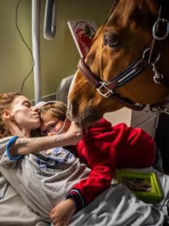 Dr. Peyo, el caballo que reconforta pacientes con Marion y Ethan. Foto nominada a Mejor Foto del Año por World Press