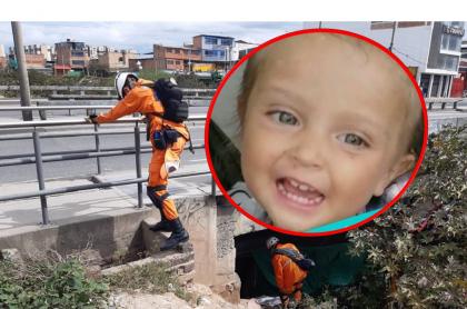 Voluntarios de la Defensa Civil buscando a Sara Sofía en Bogotá, y la niña