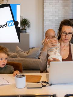 LinkedIn agrega 'ama de casa' y otros títulos parecidos a su red, foto ilustrativa de madre cuidando a sus hijos mientras trabaja y  logo de linkedIn