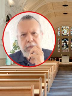 Alberto Linero, exsacerdote que apoya los impuestos a las iglesias, y una iglesia