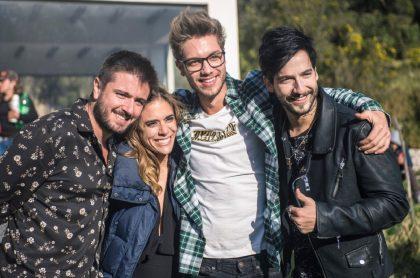 Andrés Sandoval, Carolina Ramírez, Juan Manuel Restrepo y Carlos Torres de 'La reina del flow', a propósito de que Caracol anunció el regreso de la novela y mostró adelanto.