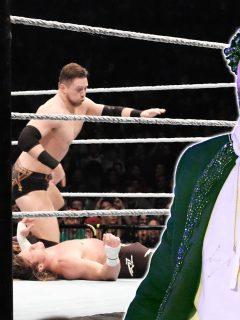 Fotomontaje con una imagen de Bad Bunny y una de una lucha sirve para ilustrar nota sobre WWE WrestleMania 37