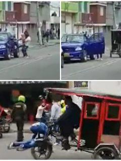 Bicitaxistas pelearon con comerciantes en Bogotá.