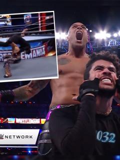 Luchador Damian Priest y cantante Bad Bunny en WWE WrestleMania 37 luego de su victoria en su pelea en el Raymond James Stadium de Tampa, Florida, el 10 de abril de 2021.