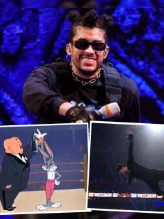 Montaje con imágenes de Bad Bunny en su pelea en WWE WrestleMania 37 y de los memes que usuarios de Twitter compartieron luego de ese combate de lucha libre.