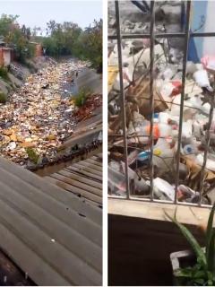 Capturas de pantalla de videos de Twitter sobre toneladas de basura en arroyo Don Juan, que dejaron a Barranquilla sin agua.