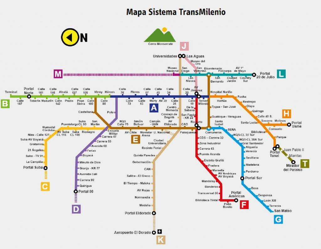 Mapa de estaciones de Transmilenio / Transmilenio.