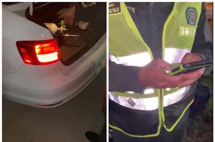Bala de oxígeno que cargaba un hombre que fue multado por salir en toque de queda en Barranquilla
