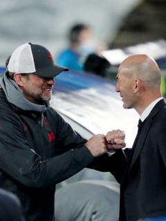 Foto de Zidane y Klopp ilustra nota sobre Liverpool vs. Real Madrid