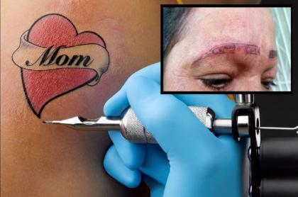 Imagen de cómo quedó la mujer luego de un mal tatuaje de cejas, en México