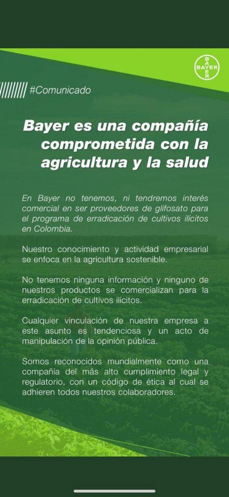 Comunicado de Bayer