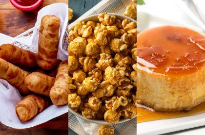 Imágenes de palos de queso, palomitas de caramelo y flan, a propósito de recetas fáciles