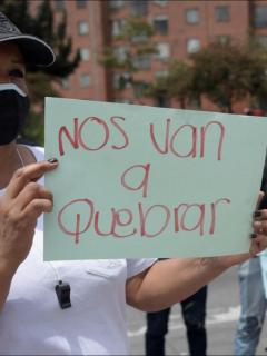 Imagen de protesta de comerciantes en Bogotá, que ilustra nota de paro nacional