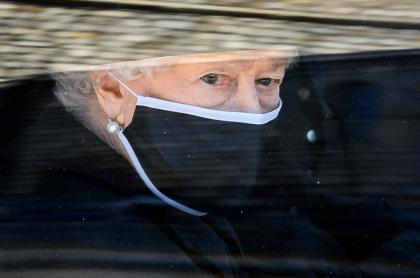 Reina Isabel II, durante el sepelio de su esposo, el príncipe Felipe.