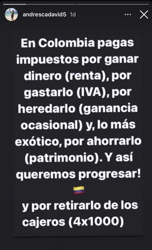 Tomado de Instagram @andrescadavid5
