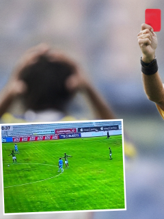 Montaje con imágenes de árbitro de fútbol sacándole una tarjeta roja a un futbolista y captura de pantalla del juego Macará 1-0 Orense, de la Liga de Fútbol Ecuador, donde el arquero argentino Jorge Joaquín Pucheta fue expulsado por orinar en la cancha.