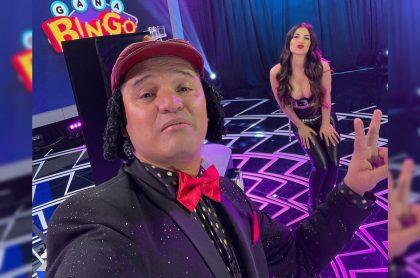 Hassam y Jessica Cediel en 'Bingos Felices', del programa 'Sábados Felices', al cual regresó el humorista bogotano este 17 de abril.