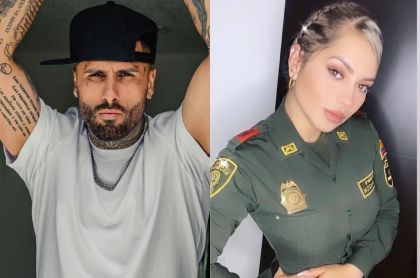 Nicky Jam, cantante, y Gina Pinzón, patrullera caleña que flechó al cantante