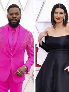 Zendaya, Colman Domingo y Laura Pausini en la alfombra roja de la edición 93 de los Premios Óscar 2021, con un atuendo que los clasificó entre los mejores y peores vestidos de la gala.