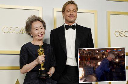 Yuh-Jung Youn (izquierda), ganadora del Óscar por 'Minari', junto a Brad Pitt en la edición 93 de los Premios Óscar en el Union Station, de los Los Angeles. Montaje con foto de Glenn Close (recuadro) bailando durante la ceremonia. Ilustra nota sobre las curiosidades y mejores momentos de los Premios Óscar 2021.