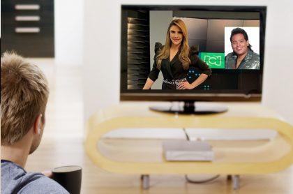 Ana Karina Soto y Orlando Liñán 'Diomedes Díaz', en televisión, a propósito de detalles de nuevo programa de RCN que ellos presentarían.