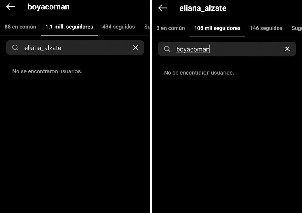 Capturas de pantalla Instagram boyacoman/eliana_alzate.