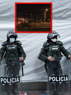 Tanqueta del Esmad en Pereira asustó a marchantes durante protestas.