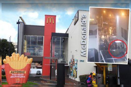 Captura de pantalla de videos de Twitter que evidenciarían saqueo en restaurante McDonald's del norte de Bogotá, en Cedritos, la noche del primero de mayo de 2021.