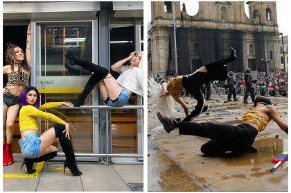 Montaje con fotos de Instagram de Piisciiss, Nova Ebony y Axid Abismal en una estación de Transmilenio y durante las marchas del paro nacional en la Plaza de Bolívar, a propósito del baile 'vogue' que viralizaron estas activistas 'queer', ¿Quiénes son estas mujeres trans y de dónde viene esa danza?