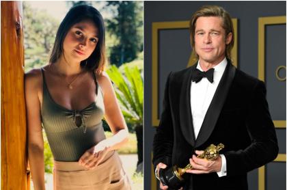 Foto de Andrea Luñoz y Brad Pitt, a propósito de que la caleña actuará en película de Hollywood