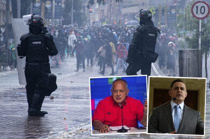 Montaje con foto de agentes del Esmad en protestas del paro nacional en Bogotá junto a fotos de Diosdado Cabello (recuadro izquierdo) y Tarek Saab (recuadro derecho). Ilustra nota sobre el pronunciamiento del número dos del chavismo y el fiscal general de Venezuela sobre las protestas en Colombia y su pregunta por la OEA y la ONU.
