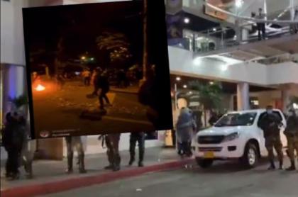 Imágenes de las protestas en Floridablanca, Santander, en donde un joven fue herido en el rostro y culpan al Esmad de la Policía